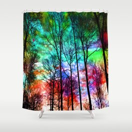 colorful abstract forest Shower Curtain