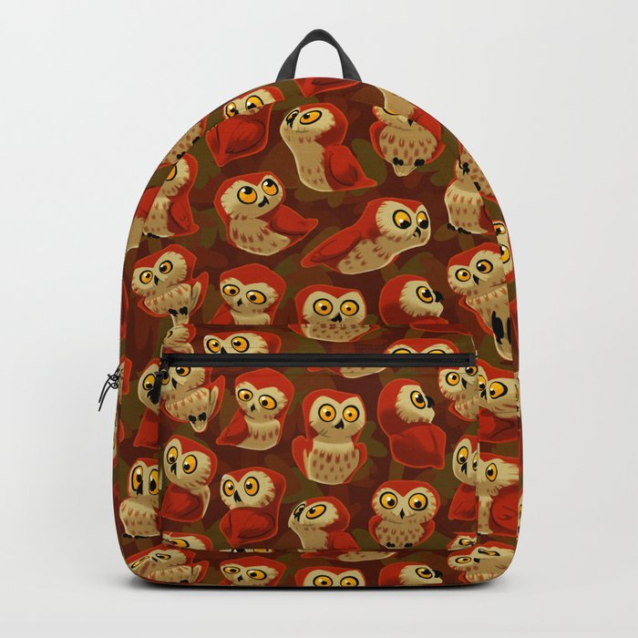 Northern Saw-whet owls pattern. Backpack