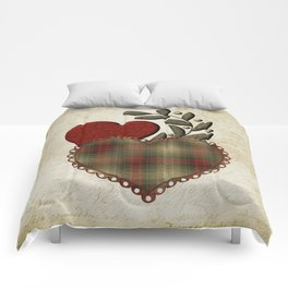 Red & Green Plaid Heart Love Letter Comforters