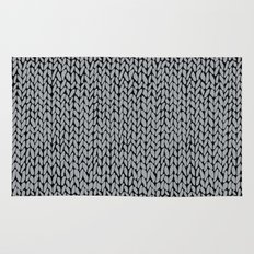 Hand Knit Grey And Black Rug