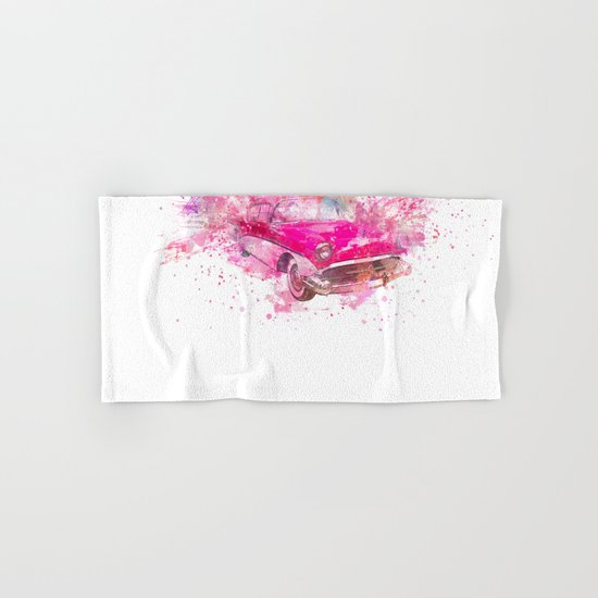 Pink Retro Car mixed media watercolor art Hand & Bath Towel