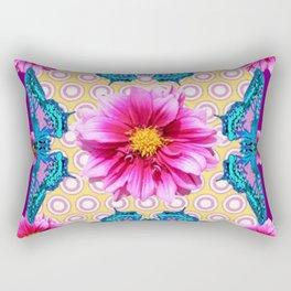 BLUE BUTTERFLIES FUCHSIA DAHLIA FLOWERS ABSTRACT Rectangular Pillow