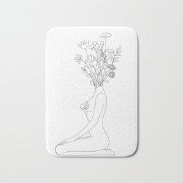 Minimal Line Bloom Bath Mat