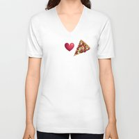 pizza V-neck T-shirts featuring Pizza  by Anderssen Creative Imaging