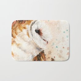 Rustic Barn Owl Artwork Bath Mat