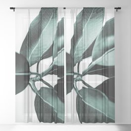 Minimal Rubber Plant Sheer Curtain
