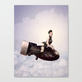 """""""Up and Atom"""" - The Playful Pinup - Military Bomb Pin-up Girl by Maxwell H. Johnson Canvas Print"""
