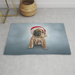 Drawing puppy Cane Corso in red hat of Santa Claus Rug