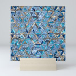 Flower of Life pattern- Blue Gemstones and gold Mini Art Print