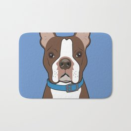 Brown Boston Terrier Art Poster Dog Icon Series by Artist A.Ramos. Designed in Bold Colors Bath Mat