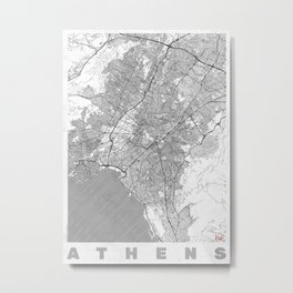 Athens Map Line Metal Print