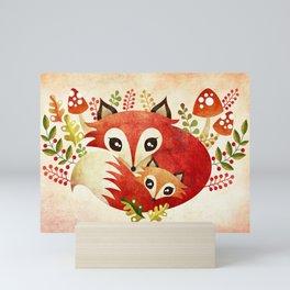 Fox Mom & Pup Mini Art Print