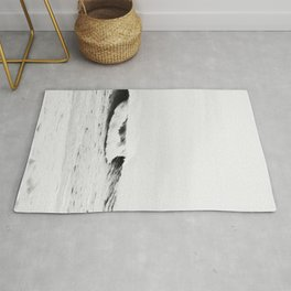 Minimalist Black and White Ocean Wave Photograph Rug