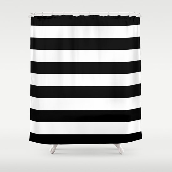 Stripe black white horizontal shower curtain by for Black and white striped bathroom accessories