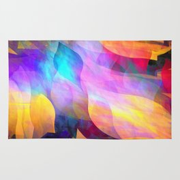 Colourful abstract with leaf shapes Rug