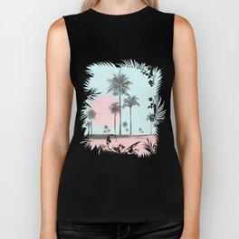 Beachfront palm tree soft pastel sunset graphic Biker Tank
