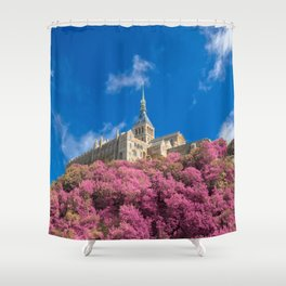 Mont Saint-Michel Abbey - Pink Fantasy Shower Curtain