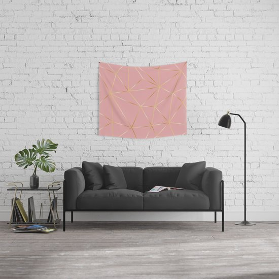 Gold Pink Polygon Wall Tapestry by artsimo | Society6