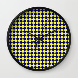 Electric Yellow and Navy Blue Diamonds Wall Clock