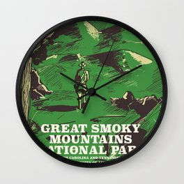 Great Smoky Mountains National Park vintage travel poster Wall Clock