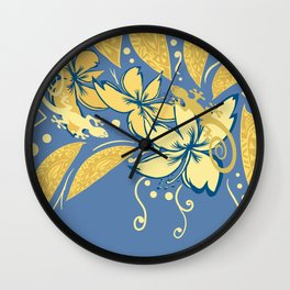 Samoan Orchid Sunset Polynesian Floral Wall Clock