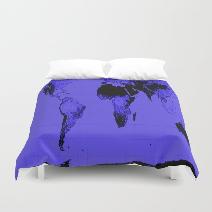 World Map: Gall Peters Indigo Purple Duvet Cover