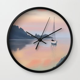 Privacy in a quiet place with a fishing rod Wall Clock