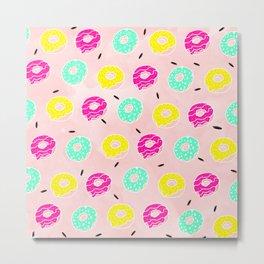 Modern bright colorful hand drawn pink mint lemon doughnuts pattern on pink pastel watercolor Metal Print