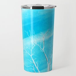 Big white leafless tree blue background Travel Mug