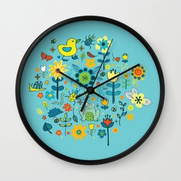 Ducks and frogs in the garden Wall Clock