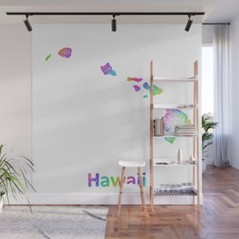 Rainbow Hawaii map Wall Mural