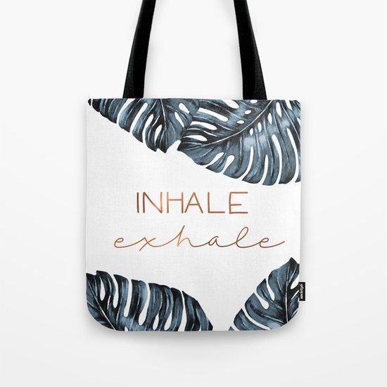 Inhale Exhale, Monstera Leafs, copper by prints_miuus_studio