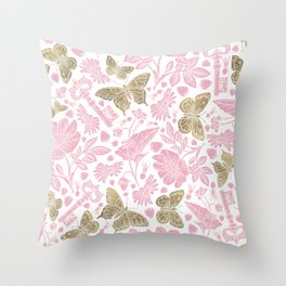 Elegant Rosewater Pink Gold Butterfly Floral Pattern Throw Pillow