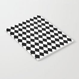 Classic Black and White Harlequin Diamond Check Notebook