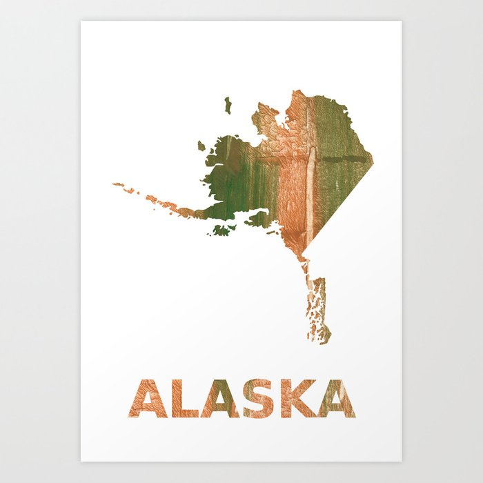 Alaska Map Outline Peru Green Streaked Wash Drawing Illustration Art