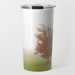 Maple Tree in Fog with Fall Colors Travel Mug