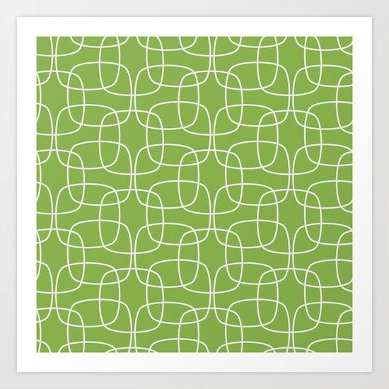 Square Pattern Greenery Art Print
