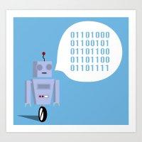 How to Greet a Robot Art Print