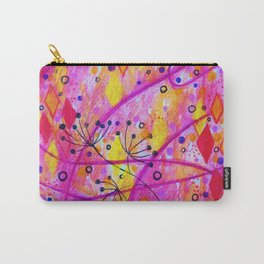 INTO THE FALL 2 - Whimsical Pink Purple Autumn Floral Watercolor Abstract Nature Pattern Fine Art  Carry-All Pouch