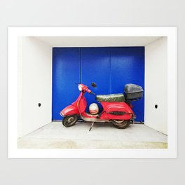 Red Vespa Art Print