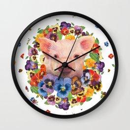 Pansy Pig Wall Clock