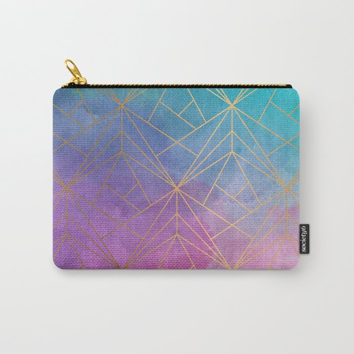 Watercolor Geometric Gold Pattern Art Carry-All Pouch