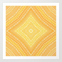 Yellow Boho Kaleidoscope Art Print