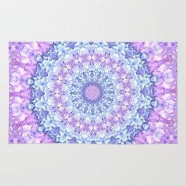 Beautiful Rose Blue Pastel Flower Mandala Rug