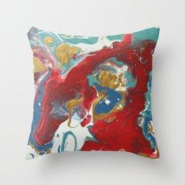 crimson, teal & gold Throw Pillow
