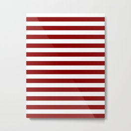 Narrow Horizontal Stripes - White and Dark Red Metal Print