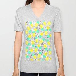 Modern tropical mint yellow pineapples black polka dots pattern illustration Unisex V-Neck