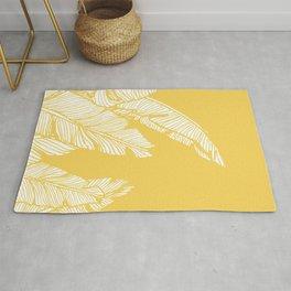 Banana Leaves on Yellow #society6 #decor #buyart Rug