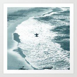 Lone surfer - slate Art Print