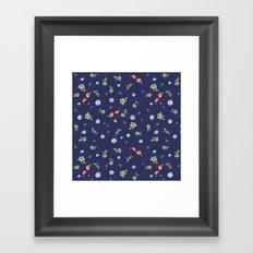 Floral with Birds on blue Framed Art Print